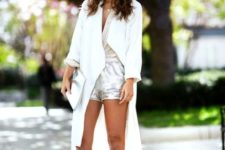 With top, unique sandals and duster coat