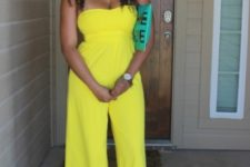 With turquoise pumps, clutch and necklace