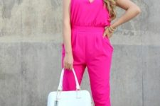 With white bag and pink pumps