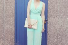 With white clutch and platform sandals