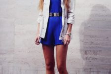 With white jacket, leopard boots and metallic belt