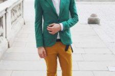 mustard pants men's look
