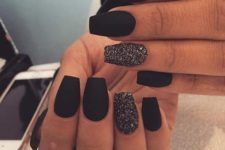 02 matte black nails and black glitter accent ones for parties