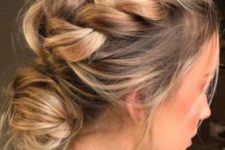 02 messy and loose updo with a side braid and a low bun
