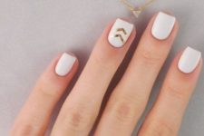02 short square matte white nails with gold chevron accents