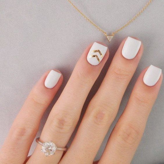 Picture Of short square matte white nails with gold chevron
