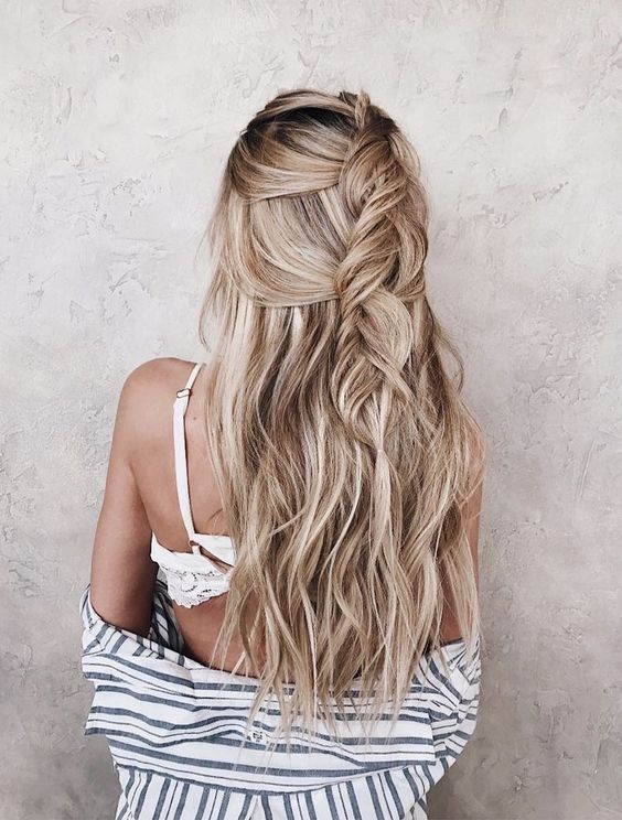 loose half updo with a loose braid to let the air in and out