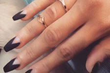 03 matte black chevron nails design is a trendy and modern idea
