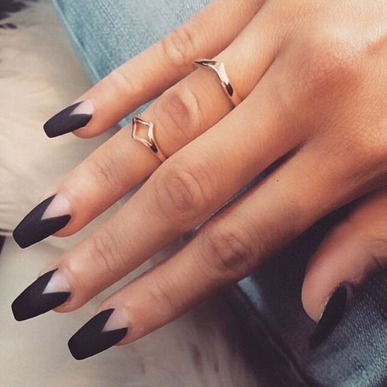 matte black chevron nails design is a trendy and modern idea - Nail Design Ideas