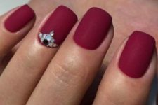 03 matte red nails with colorful rhinestones for an accent