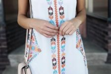 03 wide strap white mini dress with colorful embroidery and tassels