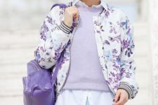 04 a blue mini skirt, a white shirt, a lavender sweater and a floral print bomber jacket for a pastel layered look
