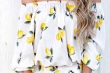 04 a lemon print off the shoulder dress and a lemon slice clutch for a fruity look