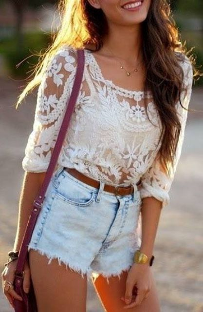 distressed light blue denim shorts and a lace half sleeve blouse
