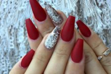 04 red matte nails with a silver glitter accent one look great not only at Christmas