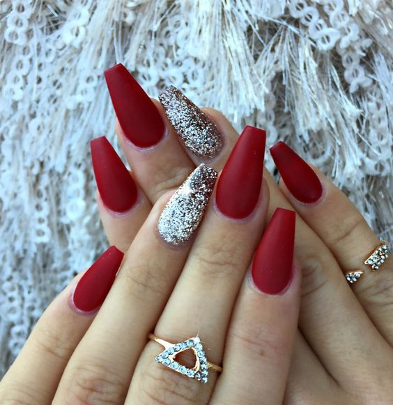 Red Matte Nails With A Silver Glitter Accent One Look Great Not Only At Christmas