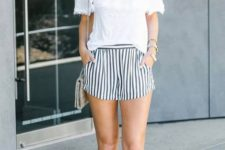 04 striped shorts, a white off the shoulder top, tassel heeled sandals