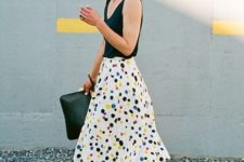 05 a black strap top, a colorful polka dot midi skirt, blue lace up flats