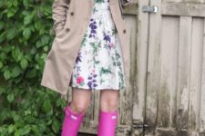 05 a floral knee dress, a neutral raincoat and pink rain boots for a girlish look