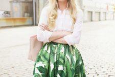 05 a white shirt, a tropical leaf print midi skirt and a blush tote and sunglasses