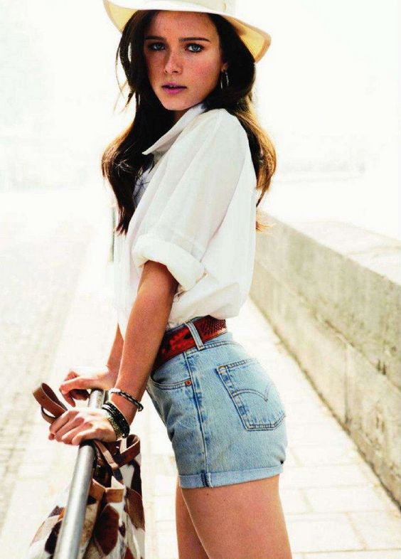 blue denim shorts and a white blouse is a classic combo, relaxed and chic, timeless and beautiful