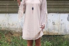 05 blush boho lace mini dress with tassel sleeves and an off the shoulder neckline, ankle strap heels