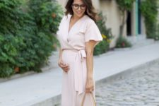 06 a blush wrap dress with short sleeves, nude shoes and a nude tote