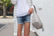 06 a white top, denim shorts, a long striped cardigan and blush laset cut lace up shoes