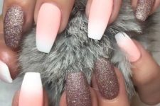 06 ombre matte French nails with dusty pink glitter ones look glam