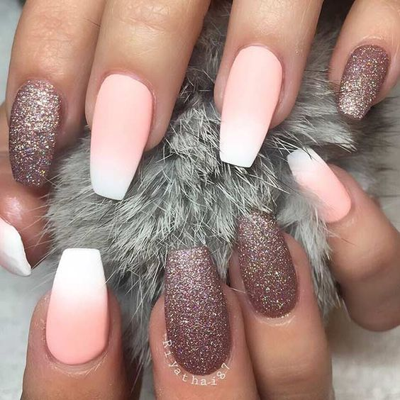 ombre matte French nails with dusty pink glitter ones look glam