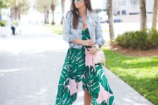 06 tropical leaf print high low dress, a denim jacket and fuchsia lace up heels