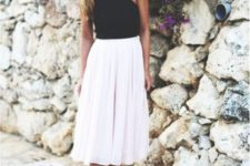 blush white skirt look