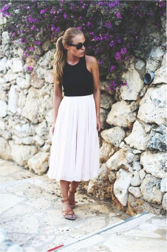 blush white skirt look