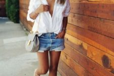 07 a white shirt, denim shorts and neutral lace up flats for a relaxed summer look
