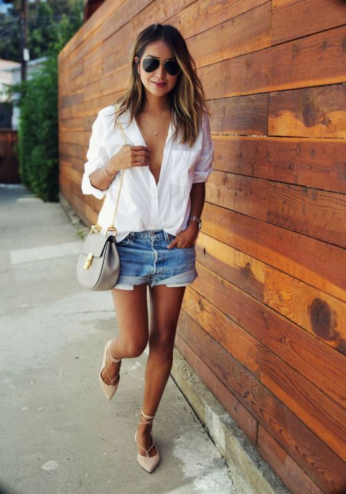 a white shirt, denim shorts and neutral lace up flats for a relaxed summer look