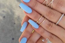 07 light blue matte nails are a great idea for summer to feel refreshed