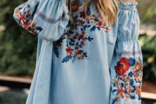 07 light blue off the shoulder mini dress with bell sleeves and colorful floral embroidery