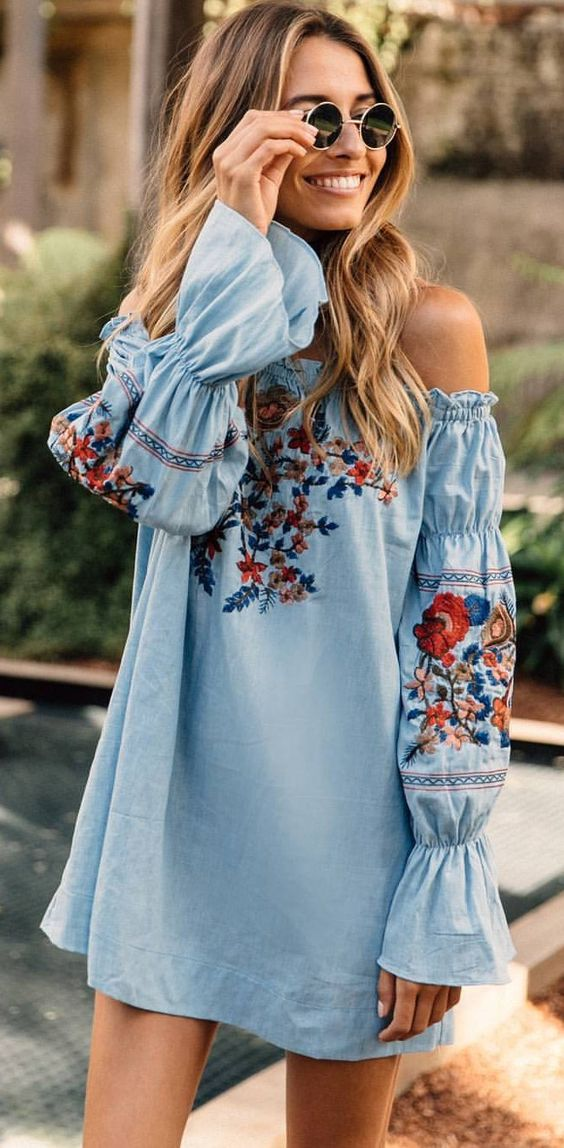 light blue off the shoulder mini dress with bell sleeves and colorful floral embroidery
