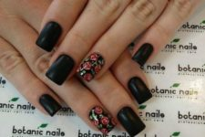 07 matte black nails and accent rose ones for a moody look