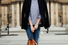 08 a striped longsleeve, a black blazer, blue distressed jeans and black textural flats