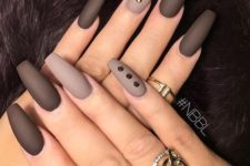 08 chocolate brown nails and beige ones with black rhinestones