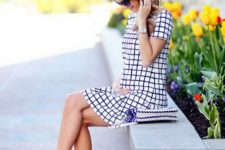 08 navy and white windowpane mini dress and pink flats for a playful and cheerful look