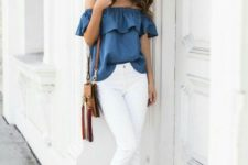 08 white fringe jeans, an off the shoulder chambray top and suede heeled sandals