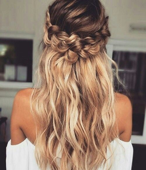 half updo with loose hair and a braid