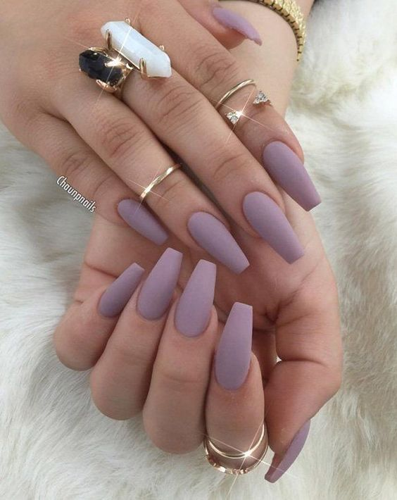 matte lavender nails for a romantic feel