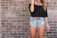 10 a black off the shoulder crop top, distressed denim shorts and black suede lace up shoes