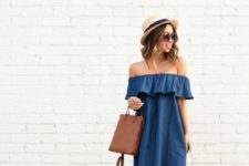 10 a chambray off the shoulder dress, brown leather shoes and a leather bag