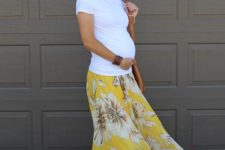 10 a white tee, a floral maxi skirt and a brown leather bag is all you need