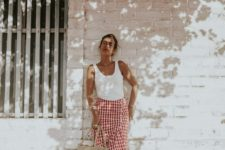 checked summer skirt outfit