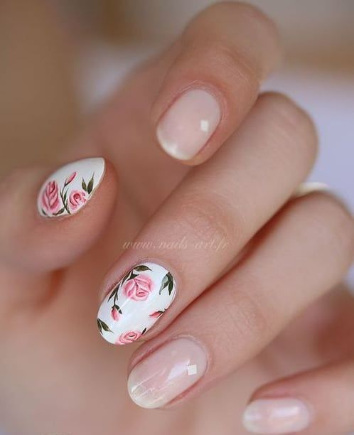 15 cute rounded nail designs and arts styleoholic blush nails and pink rose accent nails for a feminine look prinsesfo Image collections